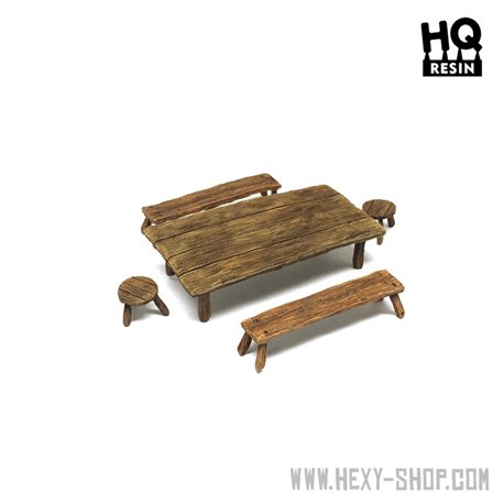 Wooden Table and Seats Set 1