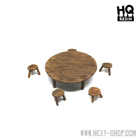 Wooden Table and Seats Set 3