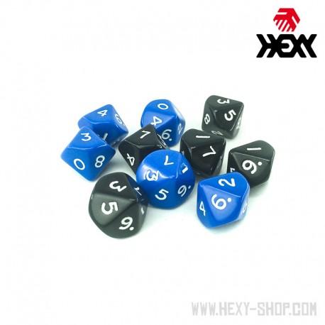 Hexy Dice Set - D10 - Black / Blue